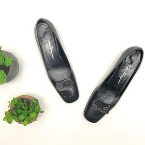 Salvatore Ferragamo classic black low block heels